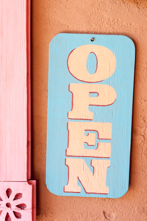 abode: Open sign on one of Old Town Albuquerque shops Stock Photo