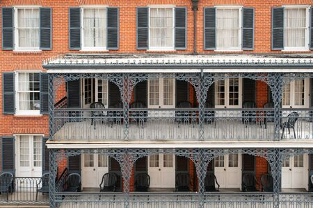 bourbon street: Typical ironwork building in French Quarter, New Orleans