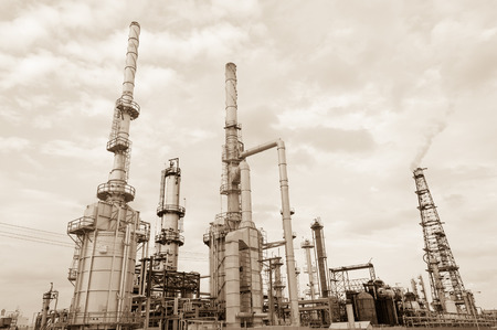 Oil refinery in sepia in New Mexico state, USA Editorial