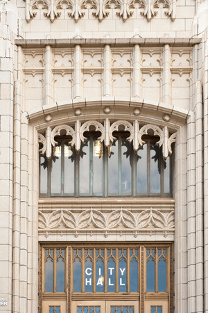 neogothic: Details of entrance to neo-gothic Atlanta City hall, GA