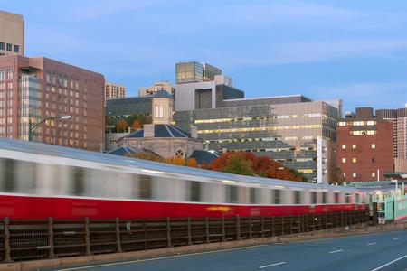 ma: Red line subway train in motion blur in Boston