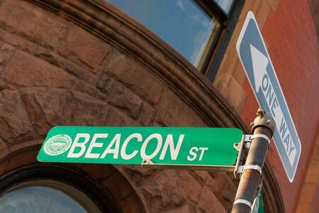 beacon: Beacon street sign in famous Boston neighborhood