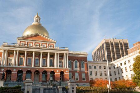 beacon: Massachusetts State house on Beacon Hill, downtown Boston