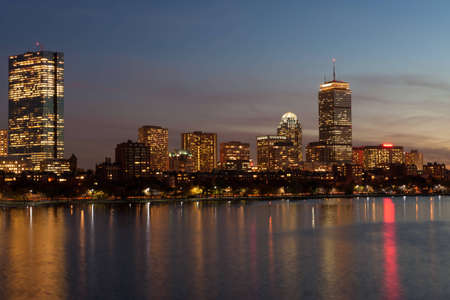 back bay: Boston Back Bay skyline and Charles river
