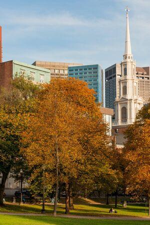 boston common: Park street church in famous Boston Common park