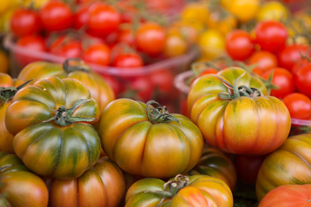 heirloom: Ripe tomatoes in Campo De Fiori street market, Rome