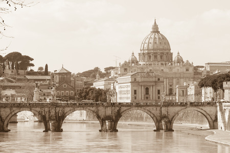 tevere: Vatican view and Ponte Sant\ Stock Photo