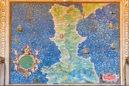 italian fresco: Ancient Calabria map  in Gallery of Maps,  Vatican museum