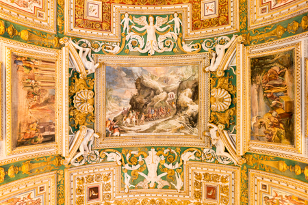 italian fresco: Exquisite ceiling of Gallery of Maps, Vatican museum, Rome