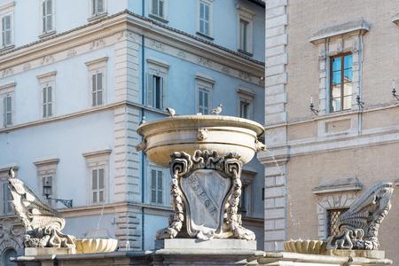 spqr: Oldest fountain in Rome on Piazza Santa Maria in Trastevere