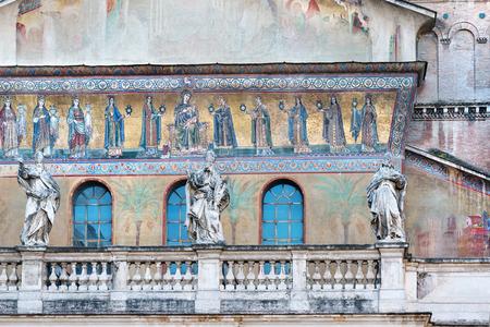 italian architecture: Ancient  facade of Santa Maria in Trastevere church in Rome Stock Photo
