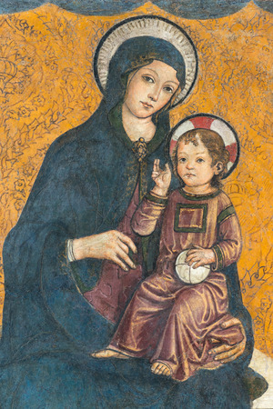 famous paintings: Medieval fresco of Madonna and child in Capitoline Museum