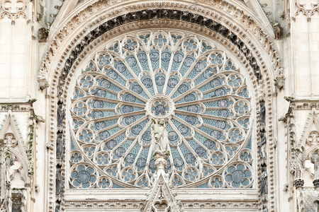 gothic window: Rosette of Notre Dame de Rouen cathedral, Normandy Stock Photo