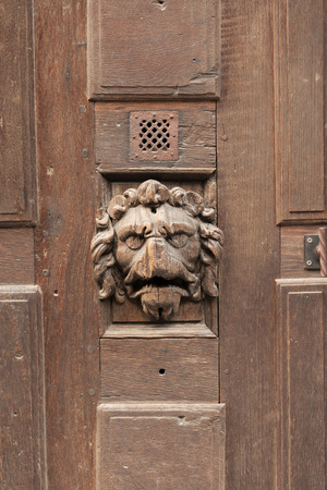 lionhead: Antique wooden door of half-timbered house, Rouen, Normandy