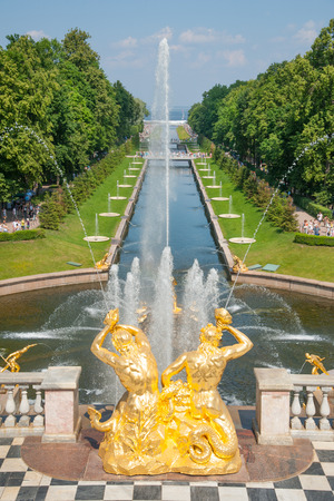 Grand Cascade of fountains in Peterhof Grand Palace, Russia