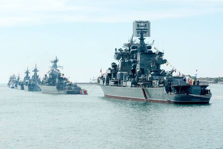9th: SEVASTOPOL CRIMEA  MAY 9: Parade of the Russian warships celebrating Victory Day on May 9th 2014. Russian Navy fleet in the Sevastopol Bay Crimea Editorial