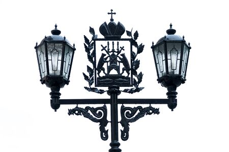 street lights: Forged street lights with Novgorod coat of arms Russia