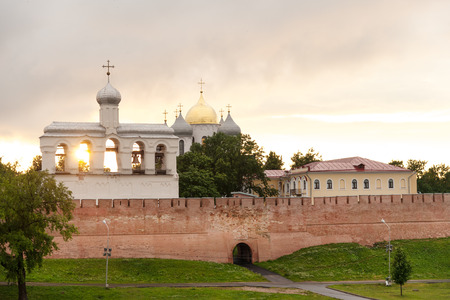 bell tower: Bell Tower and St Sophia cathedral in Veliky Novgorod Russia Stock Photo