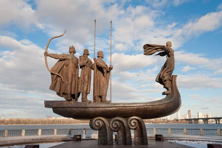 dnieper: Popular monument to the founders of Kiev on Dnieper river bank