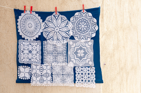 croatia: Unique handmade lacework from the island of Pag Croatia Stock Photo