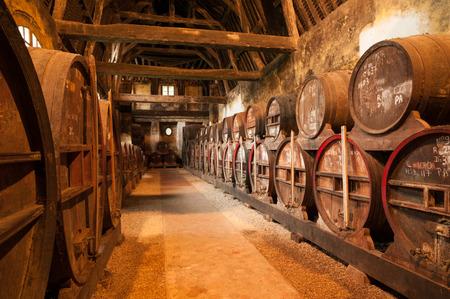 Row of oak barrels in Calvados distillery  Normandy Editorial
