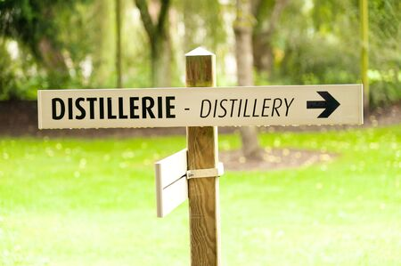 producer: Distillery sign at Calvados producer Normandy France