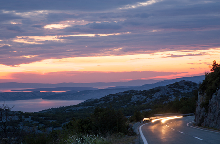 croatia: Traveling at night on the mountain road on Dalmatian coast Croatia Stock Photo