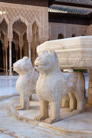 arabian harem: Close up of famous fountain in Court of the Lions in Alhambra palace, Granada