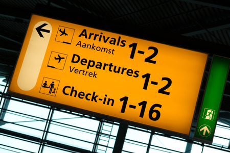 departures: Directional sign inside Schiphol International Airport, Amsterdam