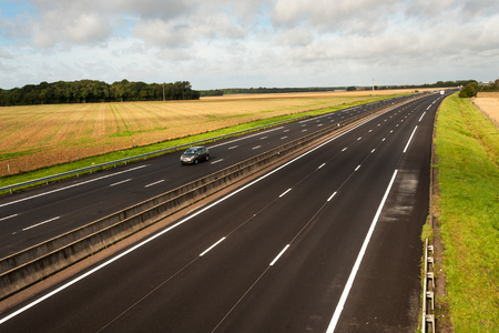 A13 French motorway from Paris to Caen through Normandy