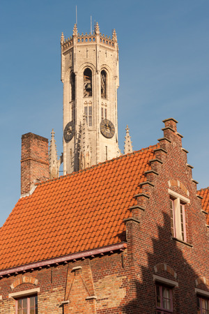 bell tower: Famous medieval bell tower Belfry in the historical Bruges, Belgium Stock Photo