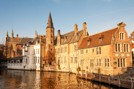 brugge: Typical houses around Dijver canal in historic center of Bruges