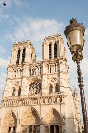 ile de la cite: Notre Dame de Paris and traditional street lamp on Ile de la Cite