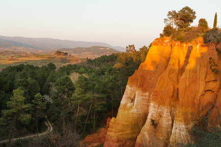 ochre: Famous ochre rocks around Roussillion village in Provence, France Stock Photo