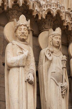 queen of sheba: Statues at Portal of Saint Anne, Notre Dame de Paris, France Stock Photo