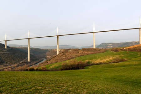 millau: Millau Viaduct in southern France, tallest bridge in the world Stock Photo