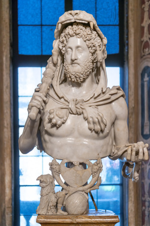 Famous Bust of Emperor Commodus as Hercules in Capitoline Museum, Rome