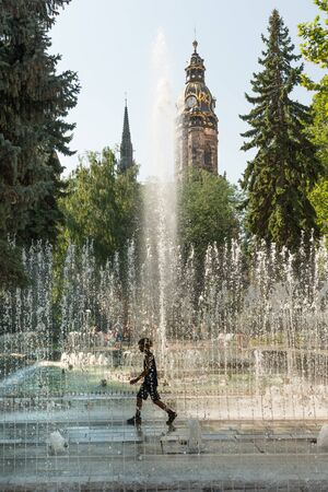 elisabeth: Singing fountains and Saint Elisabeth Cathedral on Main street in Kosice, Slovakia