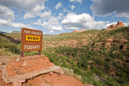danger: Fire danger warning sign in Arizona wilderness near Sedona, USA Stock Photo