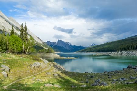 Medicine Lake in Jasper National park, Canada Stock Photo