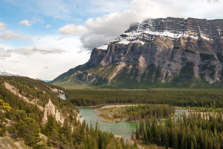 hoodoos: Tunnel mountain and hoodoos in Banff national park, Canada Stock Photo