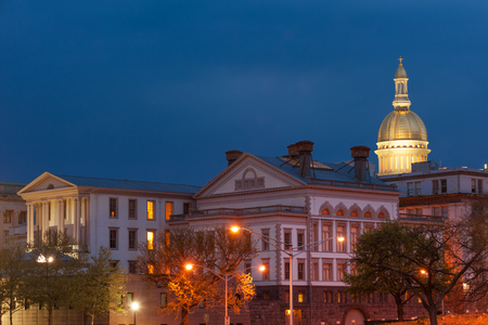 legislative: NJ state capitol complex at night in Trenton, New Jersey