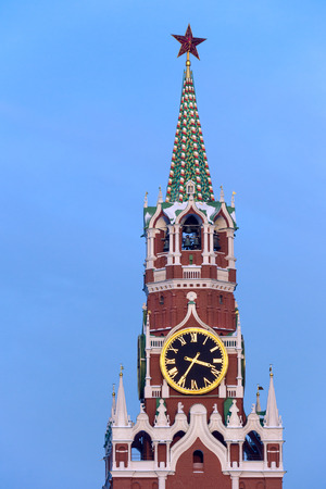 spassky: Close up of Spasskaya tower and clock, the main entrance to Kremlin from the Red Square
