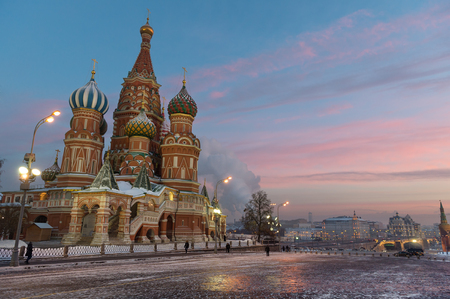 vasily: Iconic Saint Basil cathedral on the Red Square at winter sunset, Moscow