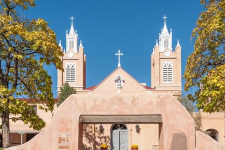 nm: Spanish Felipe de Neri church in Albuquerque historic Old Town, NM
