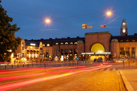 Helsinki Central railway station in central part of Helsinki at night