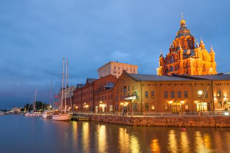 Uspenski cathedral of Finnish Orthodox church by Helsinki harbor in June, Finland Stock Photo