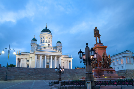 Alexander II monument and Helsinki cathedral on Senate square, Finland