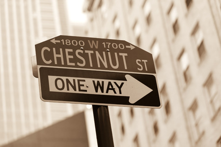 str: Famous historic Chestnut street in Center City district of Philadelphia, PA