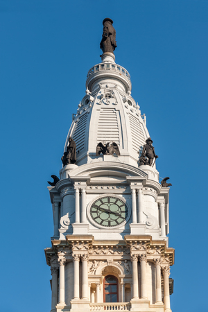 Top of City Hall tower in Center City district of Philadelphia, PA Stock Photo